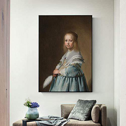 Portret van een meisje gekleed in blauwe canvas kunst aan de muur schilderijen door Johannes Nederlandse gouden eeuw art prints voor woonkamer decor 50x75cm (geen frame)