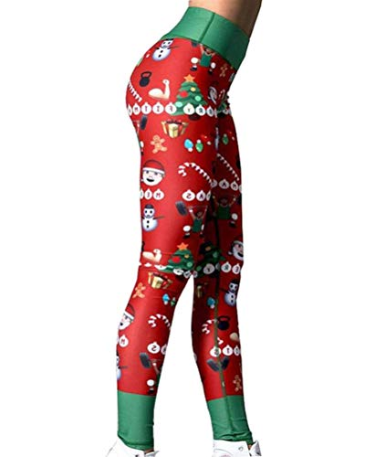 Tomwell Women Christmas Leggings Ladies Reindeer Printed Xmas Tree Stretchy Pants Trousers Green Red X-Large