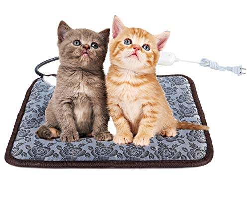 """UBEI Pet Electric Heating Pad for Dogs and Cats Waterproof Adjustable Anti-bite Steel Cord Dog Warm Bed Mat Heated Suitable for Pets Deds Pets Blankets and Kennel 17.7""""x17.7"""" (Flower Color) …"""