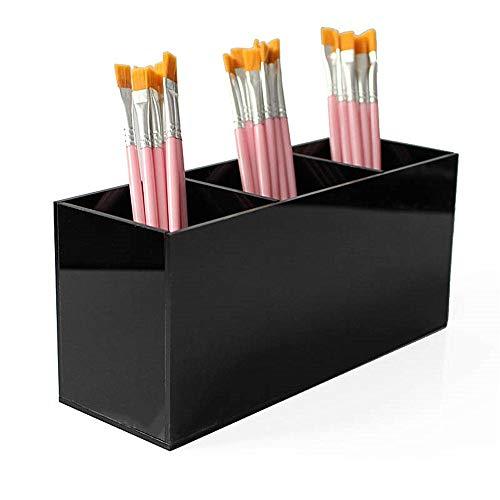 WH-IOE Kosmetisches Aufbewahrungsbehälter Schwarz acryl Make-up Pinsel Halter Organizer Box 3 Slot Kosmetik Pinsel lagerung kosmetische aufbewahrungsbox Einfache Schublade Zubehör zu Organisieren