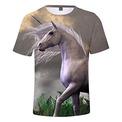 Unicornio Camisa para Niño Niña Casual 3D Funky Manga Corta Summer Camiseta Tops Blusa (3,150)