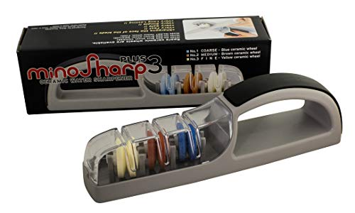 MinoSharp 550/GB 3 Stage III Hand-Held Knife Sharpener, 2.1, Gray