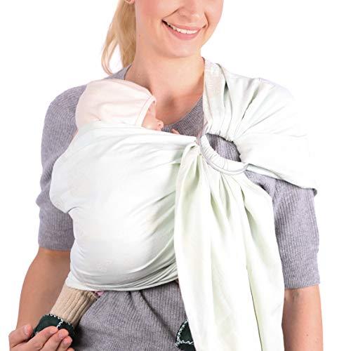 SCHMUSEWOLKE Ring Sling Baby-Tragetuch Hybrid Strukturwebung Caribbean Mint BIO-Baumwolle 70 x 215 cm Babysize-Toddlersize Neugeborene und Kleinkinder 0-60 Monate 3-16 kg Hüfttrage