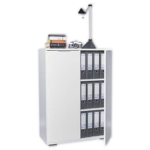 mutatio Kommode Weiß - Ordnerschrank - Vorratsschrank [Stabile Bauweise] Schrank - Aktenschrank - Bücherschrank - Weiß - B 80,2 cm x H 109,5 cm x T 35 cm | Büromöbel