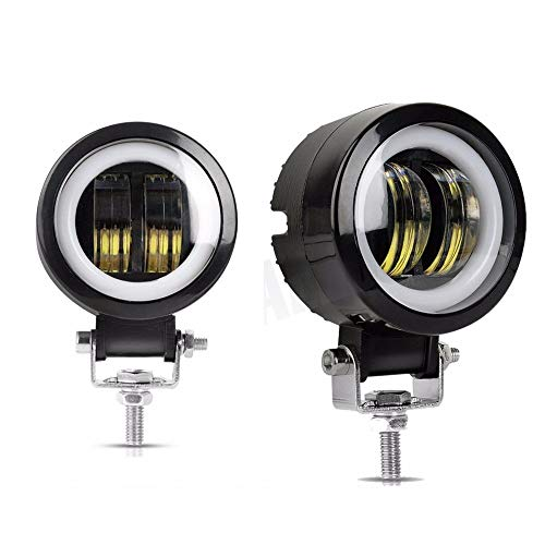 2PCS 3 Inch 40W Fog Light White 6000K 10-80V DC 8000LM Waterproof Round LED Angel Eye Light Strip Off-Road Vehicle Marine Work Light Motorcycle Light Warranty 3 Years