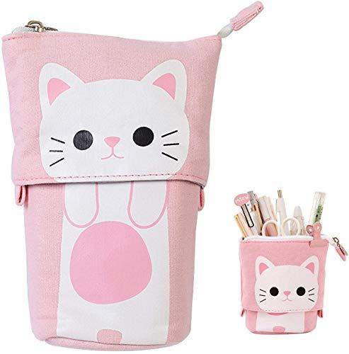 Transformer Stand Store Pencil Holder Canvas Cute Pencil Case Zipper Cat Pencil Box Boys&Girls School Supplies Pen Bags Gifts (Pink)