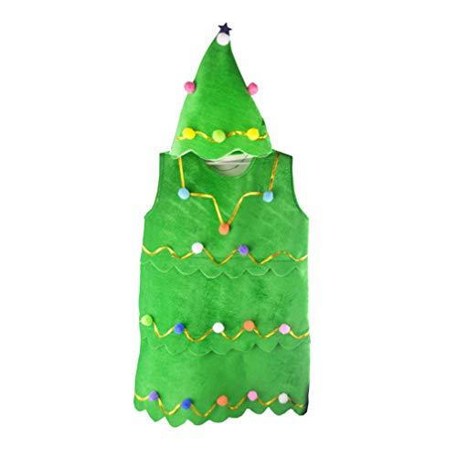 NUOBESTY - Conjunto de disfraz de árbol de Navidad para niños con sombrero y vestido de escenario, disfraz de franela, disfraz de cosplay, Verde, 55 cm