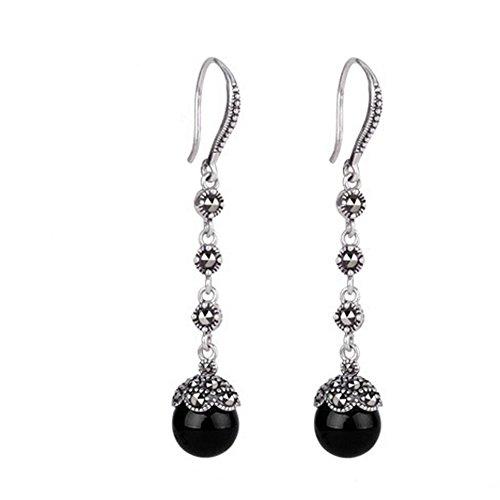 Jade Angel Schmuck Antik Thai Silber Sterling Silber 925 Agate und Markasit Ohrringe Dangle