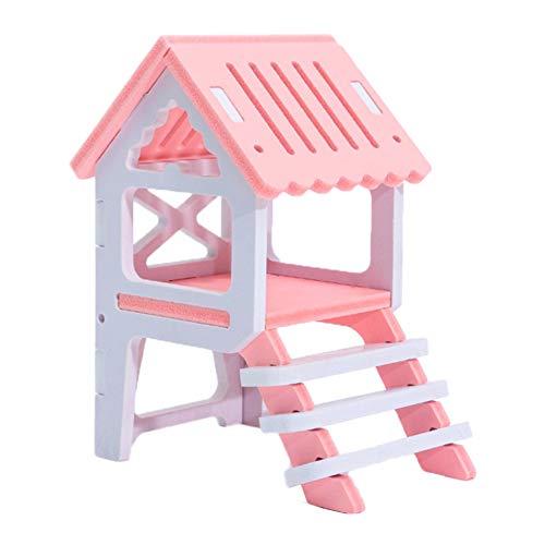 AchidistviQ Casa de hámster de madera para mascotas, casa de hámster con...