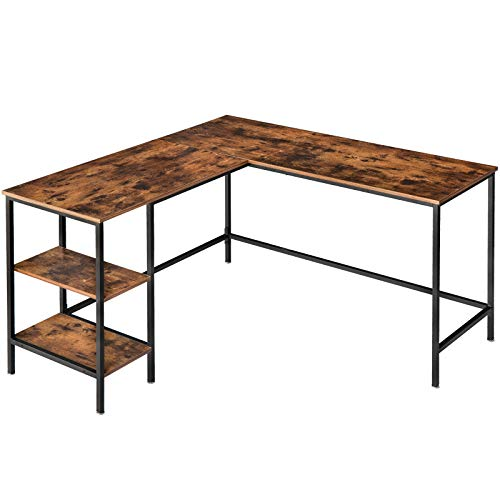 IBUYKE Computer Desk, L-Shaped Corner Writing Workstation, Office Table with 2 Shelves for Home Office, Study Writing and Gaming, Space Saving, Easy Assembly, Rustic Brown and Black TMJ053H