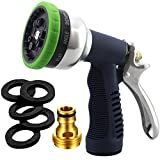Garden Hose Nozzle Heavy Duty Spray 9 Adjustable Patterns Metal Water Jet Hose Sprayer Hand Gun Grip Trigger for Cleaning/Watering Lawn and Garden/Pets Shower by SUNRICH