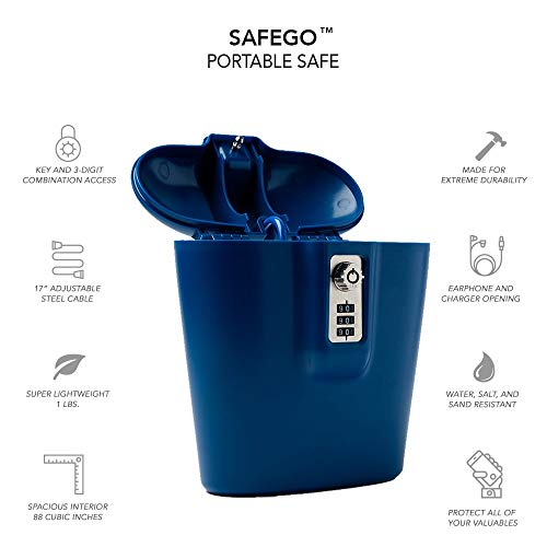 SAFEGO Portable Indoor/Outdoor Lock Box Safe with Key and Combination Access (Blue)