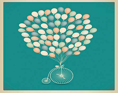 Y·JIANG Pintura por números retro para bici Baloons vintage multicolor DIY lienzo acrílico pintura al óleo por números para adultos niños decoración de la pared del hogar, 50,8 x 50,8 cm