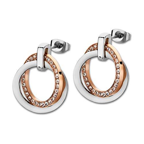 Lotus earrings ls1780/4/2 ladies stainless steel two-tone rose white cubic zirconia stud earrings.