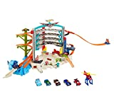 Hot Wheels CMP80 Ultimate Connectable Play Set with 4 Diecast, Helicopter, Mini Cars and Toy Garage