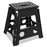 LIVIVO Folding Step Stool – Compact and Lightweight Two Tier Anti Slip Stepping Stool - Folds Flat with Carry Handle for Easy Storage and Transport (Black)