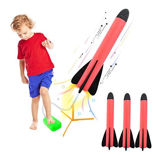 EKKONG Air Rocket, Stomp Rocket, Rocket Launcher Toy, Druckluftrakete Spielzeug mit 3 Schaumraketen, Outdoor Spielzeug für Kinder