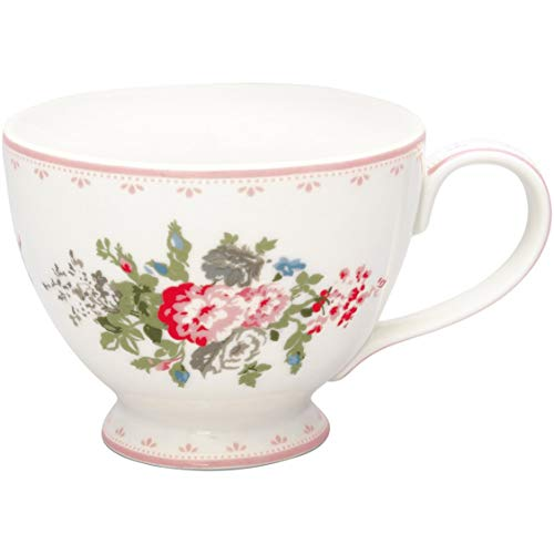 GreenGate Teetasse PETRICIA Weiss Blumen Porzellan Tasse mit Henkel 400 ml
