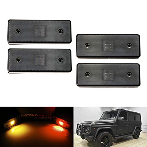 iJDMTOY Smoked Lens Amber/Red Full LED Side Marker Light Kit Compatible With 2015-2018 Mercedes W463 G-Class G550 G63 G65 AMG, Replace Front /Back OEM Sidemarker Lamps
