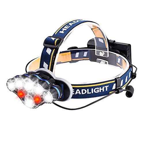 SZCLIMAX - Linterna Frontal LED, súper Brillante Recargable por USB, con 13000 lúmenes, rotación de 90° y 8 Modos de luz Intercambiable, Impermeable, Correr, Caminar, Ciclismo, Pesca, Acampada