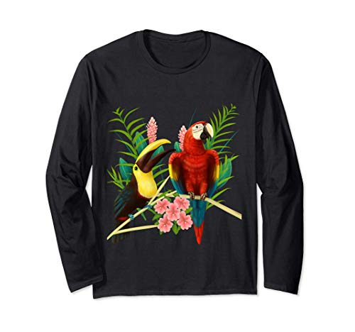 Toucan and Scarlet Macaw Parrot Long Sleeve T-Shirt