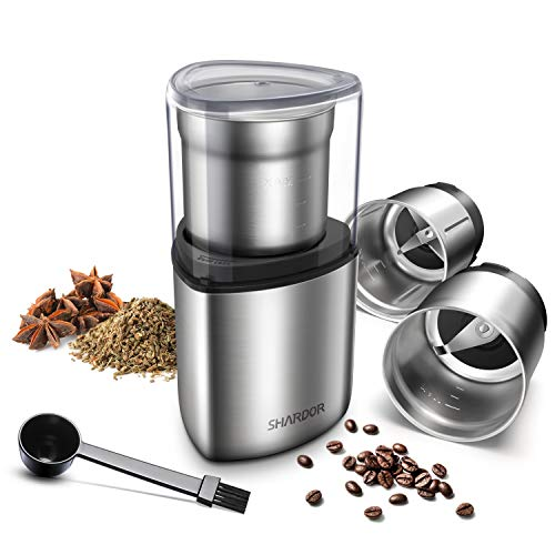 SHARDOR Coffee Grinder Electric, Spice Grinder Electric, Wet Grinder for Spices and Seeds with 2 Removable Stainless Steel Bowls, Silver