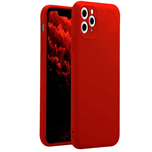iEugen Compatible with iPhone 11 Pro MAX 6.5 inch(2019) Liquid Silicone Case,Gel Rubber Protection Shockproof Slim Shell Cover Case with Anti-Scratch Microfiber Lining Cushion Drop Protection,Red