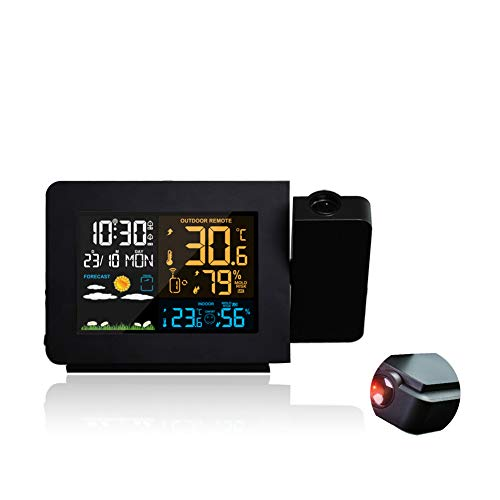 LICHUXIN Wetterstation mit USB-Digital-Wecker-Sensor displaymoon Displaygrößen mit Wecker Prognosefunktion Thermometer Projektion Frostpunkt Doppel Alarm