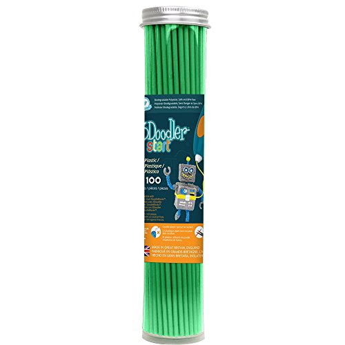 3Doodler Start 3D Printing Filament Refill Tube (X100 Strands, Over 830'. of Extruded Plastic!) - Spring Green, Compatible with Start 3D Pen for Kids