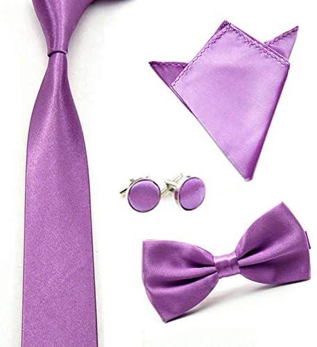 Men Solid Color Satin Bow Tie Necktie Handkerchief Pocket Square Cuff Link Set Color: Light Purple