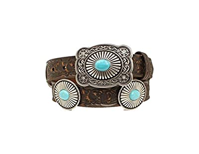"""Ariat Embossed Turquoise Conchos & Buckle Belt Brown LG (38"""" Waist)"""