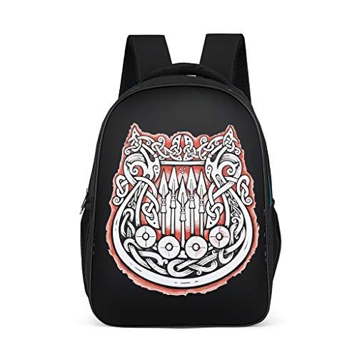 Dofeely Viking patroon schoolrugzak ergonomische praktische rugzak kinderen jongeren dames heren sporttas voor school reis vrije tijd 32 c * 18 * 42 cm