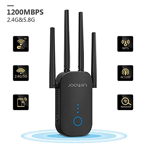 JOOWIN WLAN Repeater, 1200Mbit/s WLAN Verstärker 5GHz 867Mbit/s 2,4GHz 300Mbit/s WiFi Repeater mit AP-Modus/Repeater/Router, WiFi Range Extender kompatibel mit Allen WLAN Geräten