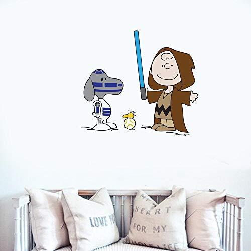 Snoopy Decals Cartoon Hundeerdnuss Comic Snoopy Peanuts Star Wars Wandtattoo für Jungen Zimmer Mädchen Schlafzimmer Kinderzimmer Spielzimmer