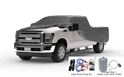 Weatherproof Truck Cover Compatible with 1999-2019 Ford F-250 Crew Cab~6.75 Ft Bed - 5L Outdoor & Indoor - Protect from Rain, Snow, Hail, Sun - Theft Cable Lock, Bag & Wind Straps