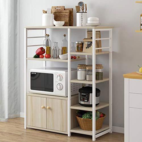 WXQIANG Estante de almacenamiento de metal de varias capas para cocina, estante multiusos de madera, estantes para horno de microondas, duraderos y protectores (color: C, tamaño: 80 x 30 x 100 cm)
