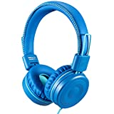 POWMEE M1 Kids Headphones Wired Headphone for Kids,Foldable Adjustable Stereo Tangle-Free,3.5MM Jack Wire Cord On-Ear Headphone for Children (Azure)