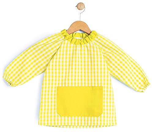BeBright Bata Escolar Infantil, Baby Escolar Niña y Niño, Babi para Colegio y Guarderías- Fabricado en España (Amarillo, 0-12 Meses)