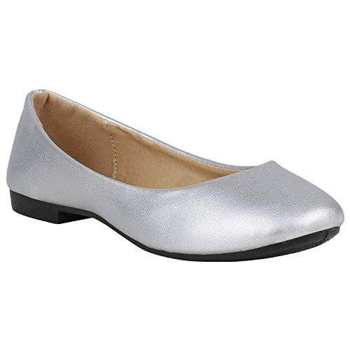 stiefelparadies Klassische Spitzen Damen Ballerinas Flats Schleifen Lack 155251 Silber Metallic 37 Flandell
