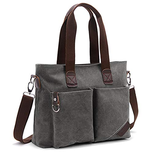 ToLFE Women Top Handle Satchel Handbags Tote Purse Shoulder Bag (Grey-(large))