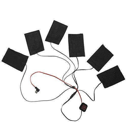 Paño de calefacción USB, Kit 6 en 1 Chaleco de Invierno Ropa de Abrigo eléctrica Chaqueta con calefacción 1 Juego Ropa de calefacción, Negro para niños Al Aire Libre Adulto Invierno