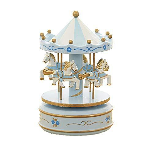 MINGZE Cajas Musicales, Caja de música de Madera Europea con 4 Caballos con carrusel, para niñas Niños Niños Bebé Navidad Cumpleaños Cumpleaños Regalo (Flower-Blue)