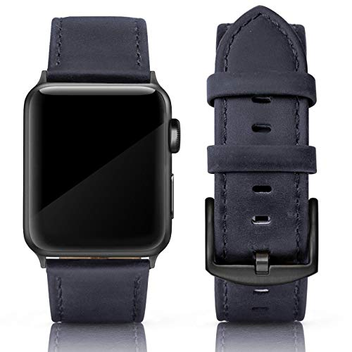 SWEES Apple Watch Band 42mm Pelle 08. Yale Blue (Fibbia Nera).