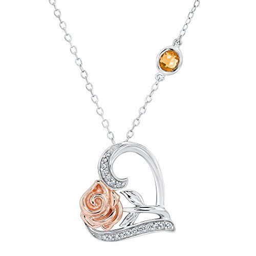Enchanted Disney Fine Jewelry Belle's Rose and Heart Diamond Pendant 1/10ctw