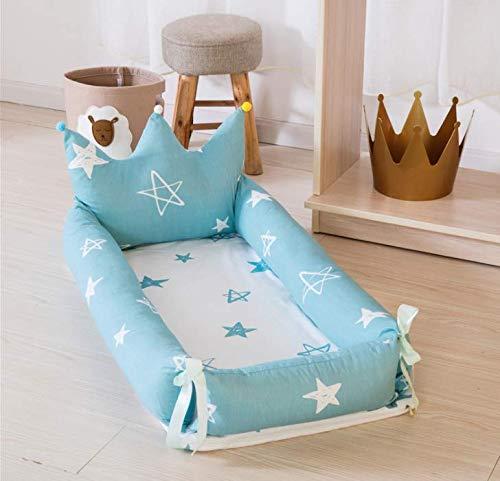 ベッドインベッド(防水シーツ付き)枕付き 添い寝ベッド ベビー布団 ベビーベッド ベッドガード (王冠型・ブルー・スター)