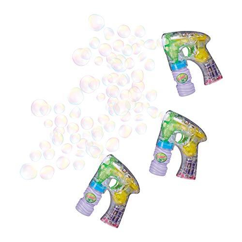 Relaxdays 3 x Seifenblasenpistole mit LED, Seifenblasenmaschine für Kinder, inkl. Batterien und Seifenlauge, für Geburtstag und Party