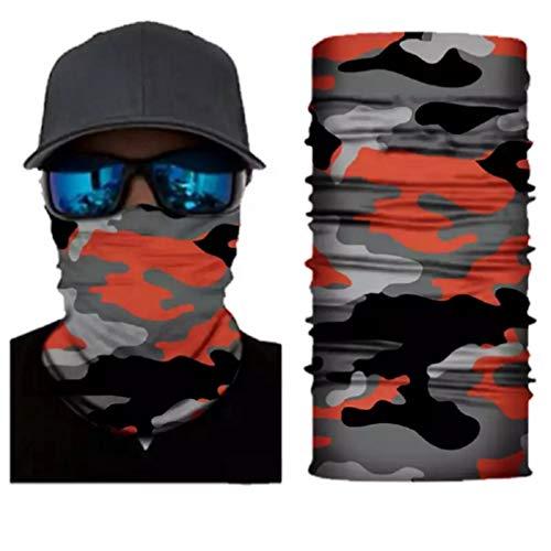 Unisex Neck Gaiter Face Mask Bandana Camo Reusable Dust Seamless UV Protection Headwear - Men Women (Clementine Orange Camo)