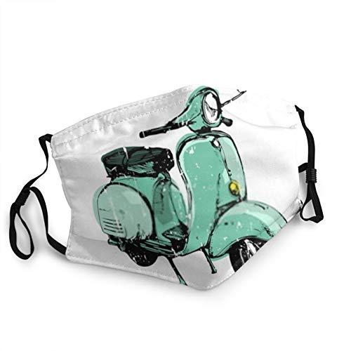 Antiguo Azul Retro Scooter Mascarillas para adultos, lavables al polvo, reutilizables, actividades interiores y al aire libre