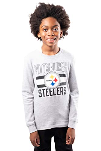 Ultra Game Boys#039 NFL Athletic Performance Lightweight Thermal Long Sleeve Shirt Pittsburgh Steelers Heather Gray 8