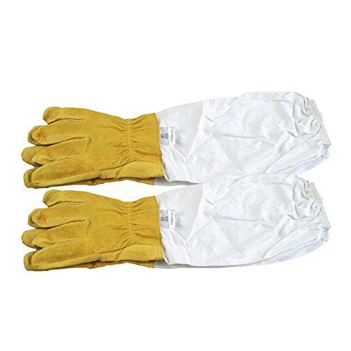 Bienenzucht Handschuhe, Ziegenleder Schutzhandschuhe Langarm Langlebig Perfekt für den Anfänger Beekeeper (Gelb)